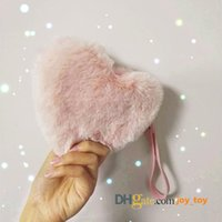Wholesale Plush Pink Heart Coin Purse Change Wallet Zipper Pocket Pouch Party Bag for Valentine Gifts