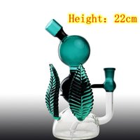 Wholesale leaf glass bowl resale online - New Design Glass Bongs with mm Joint Bowls Piece Teal Color Leaf Glass Water Bong Pipe Comes Hookahs