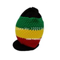 chapeaux hippie achat en gros de-Reggae Rasta Jamaïque Marley Chapeau Long Slouch Design Hiver Bonnet Bonnet Visor Cap Gorro Hippie Couronne Style