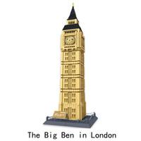 kağıt model binalar toptan satış-Elmas Blokları Dünyaca Ünlü Mimari Londra Big Ben Mini 3D Modeli Yapı Taşları DIY Montaj Tuğla Oyuncaklar
