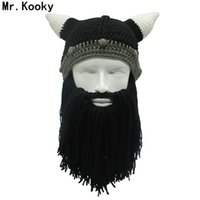 ingrosso corna di beanie-Mr.Kooky Barbarian Viking Beanie Beard Horn Cappello Handmade Knit Inverno Caldo Cap Uomini Donne Compleanno Fresco Divertente Gag Party Xmas Regali S1218