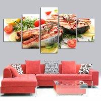 ingrosso tessuto di stampa alimentare-Moderno Still Life Wall Art Pittura con frutta Pere Burro di formaggio di legno cibo Poster tessuto Stampa poster di seta