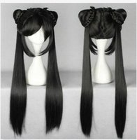 ingrosso donne nere parrucche lunghe ponytails-Free shippingNew Hot Fashion 80cm lungo nero dritto parrucca donna due coda di cavallo parrucca cosplay anime
