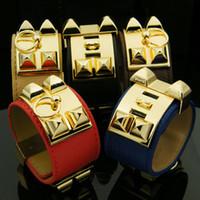 ingrosso largo braccialetto h-Charm H Bracciale largo in oro fibbia in pelle PU Bracciali Bangles per donna uomo Punk Femme Pulseira Feminina Masculina gioielli