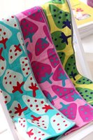 аниме полотенца оптовых-IVYYE 1PCS 77x35CM Клубничный Аниме Ванна лица Полотенца Хлопок Платок Мягкий полотенце для рук мультфильм мочалки Детские ребенка NEW