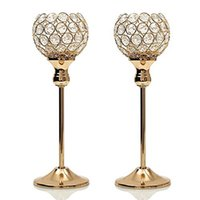 Wholesale hurricanes candle holder for sale - Group buy Gold Crystal Candle Holders Set Wedding Centerpiece Decoartion Candlesticks Home Decor Fireplace Candelabra Birthday Housewarming Gift