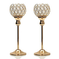 kerzenhalter sets großhandel-Gold Crystal Kerzenhalter Set Hochzeit Herzstück Decoartion Candlesticks Home Decor Kamin Kandelaber Geburtstag Housewarminggeschenk