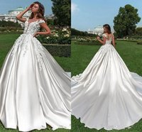 Wholesale beach wedding dresses back ruffle resale online - 2019 Eleagnt Lace Appliqued Satin A line Wedding Dresses Luxury V Neck Sheer Back Plus Size Bridal Gown With Sweep Train