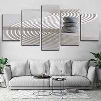 5 Panels Stones Zen Sand Modern Artworks Giclee Canvas Wall Art For Kid Home Wall Decor Abstract Poster Canvas Print Oil Painting