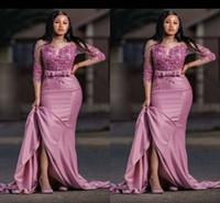 rosenkleid plus größe großhandel-Dusty Rose Fashion Saudi Arabisch Meerjungfrau Abendmutter der Braut Kleid Satin Applikationen 3/4 Ärmel Party Prom Festzug Kleid Plus Größe