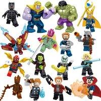 brinquedo homem casco venda por atacado-Vingadores 3 Endgame Loki Black Pather Homem De Ferro Tony Stark Hulk Thanos Thor Visão Mini Toy Figura Bloco de Construção Assebmle Blocos brinquedos infantis