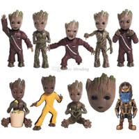 anahtarlık figürleri toptan satış-10 stilleri Guardians Galaxy Aksiyon Figürleri karikatür Anahtarlık Groot anahtarlık Kolye perakende kutusu ile çocuk oyuncak C2337