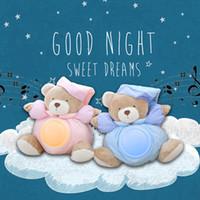 ingrosso ha portato le luci di notte dell'orso-25cm Kawaii Teddy Bear luce musicale peluche bambole Pat lampada comfort sonno LED luce notturna placare orso giocattoli per i bambini regali