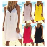 Wholesale s tea light for sale - Group buy 2019 Summer sexy women sling dress Vacation sexy v neck sleeveless pure color dresses plus size S XL