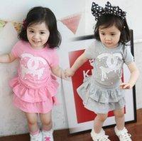 bebek kız yeni elbiseler toptan satış-Yeni bebek kız etek giyim kız bahar setleri T-shirt + kısa kek etekler 2 adet bebek kız elbiseleri çocuk kıyafetleri çocuk giysileri