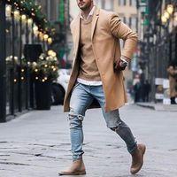 trinchera larga y delgada al por mayor-Otoño Invierno para hombre Marca Fleece Jacket combina Hombre Abrigo sólido ocasional capas delgadas de algodón de cuello largo gabardina Streetwear