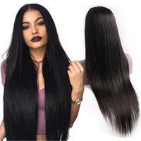 22 inç peruk toptan satış-Siyah Kadınlar Için tam Dantel İnsan Saç Peruk Düz Uzun 8-34 inç Peruk% 100% Brezilyalı Remy İnsan Saç 210% Yoğunluk Boyalı Olabilir ve Restyle Tam