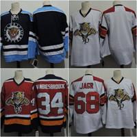 ingrosso ritorno al hockey-Retro Florida Panthers 34 John Vanbiesbrouck 68 Jaromir Jagr Blank Throwback maglie per hockey a buon mercato a buon mercato spedizione gratuita veloce