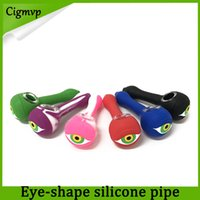 Wholesale eye glass pipe online - Eye Shape Silicone Smoking Pipe With Glass Bowl Spoon Hand Pipes Portable Unbreakable Spoon Pipe With Glass Bowl VS twisty glass blunt