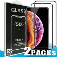 cam ekran koruyucusu iphone6 plus toptan satış-2 Paket 5D Temperli Cam Tam Kapak Kavisli Cam Iphone XR XS MAX X Tam Kapak Film 3D Kenar Ekran Koruyucu Için iPhone6 6 S 7 8 Artı