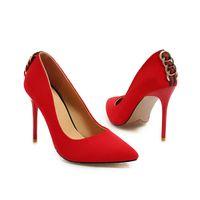 nouvelles chaussures de bureau achat en gros de-En gros Nouveau Sexy Talon À Talon Aiguille En Daim Anneau Pointu Toe Femmes Pompes 105mm Mode Chaussures À Talons Hauts pour les Femmes Bureau Chaussures Habillées