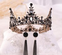 coroas redondas para noivas venda por atacado-Coroa de noiva, redonda preto Retro rainha barroca coroa, europeus e americanos enfeites de cabelo de noiva