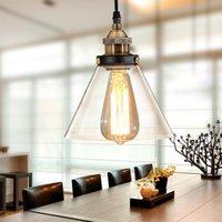 lâmpadas de teto de vidro vintage venda por atacado-Luz Pingente Vintage sotão industrial Lâmpada de vidro Sombra luminária Para Cozinha luminária de mesa de teto Lâmpada de suspensão Luz