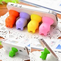 pig phone holders 2021 - Cute Pig Shape Phone Holder Universal Mount Stand for IPhone 8 X 7 6 5 Samsung Galaxy with Silicon Plastic Ear Dust 100pcs lot
