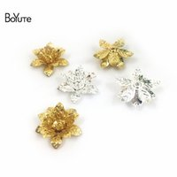 Wholesale flower pieces for hair resale online - BoYuTe Pieces Metal Brass Stamping Flower Bead Caps for Bridal Hair Jewelry Making