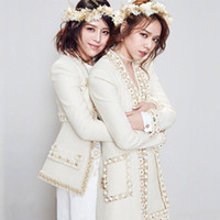 New Runway Autumn Woolen Blend Tweed Jacket Coat Women Flower beading Pearls Female Jacket High Waist Ladies Jackets