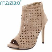 botas abertas venda por atacado-MAZIAO Verão Sandálias Gladiador Salto Alto Oco Mulheres Sexy Frente Stilettos Abertos Bombas Genova Sapatos Mulher Ankle boots