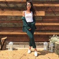 Wholesale office work trousers long for sale - Group buy Work Fashion Pant Suits Piece Set For Women Double Breasted Striped Blazer Jacket Trouser Office Lady Suit Feminino SH190722