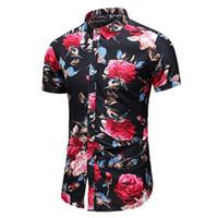 blusa de flores rojas al por mayor-Camisa social de flores Hombres Blusa floral Hombres Cuello de solapa Estilo hawaiano Camisa masculina casual Moda Manga corta Verano Azul Rojo