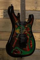 ореховые гитары оптовых-Супер редкие ООО черепа змей Джордж Линч подпись электрогитара Floyd Rose Тремоло мост, гайка, черный оборудование, SH пикапы