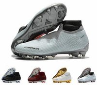 Wholesale soccer shoes size online - New Phantom VSN Elite DF FG Soccer Shoes High Top Football Cleats Mesh Phantom Vision Original Soccer Boots mens football boots Size