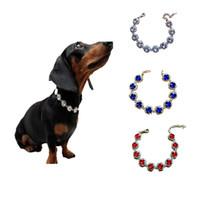 diamantes de imitación mezclan colores al por mayor-Collar de diamantes de imitación para mascotas Collares de perro Accesorios de joyería Colores mezclados para pequeños y medianos exquisitos 7 9mp F1
