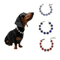 Wholesale dog collar jewelry resale online - Rhinestone Pet Necklace Dog Collars Jewelry Accessories Colors Mix For Small And Medium Exquisite mp F1