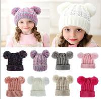 Wholesale crochet kid hat spring resale online - Kid Knit Crochet Beanies Hat Girls Soft Double Balls Winter Warm Hat Colors Outdoor Baby Pompom Ski Caps T459