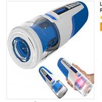 otomatik vibratör makinesi oyuncak toptan satış-Leten Elektrikli Erkek Masturbator Otomatik Teleskopik Rotasyon Piston Emme Vibratör Erkekler için Gerçek Ses Seks Makinesi Oral Seks Oyuncak Ücretsiz DHL65