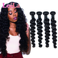Wholesale leila for sale - Group buy Leila Hair Brazilian Loose Deep Weave Bundle Deals Human Hair Bundles Natural Black inch Remy Hair Extensions