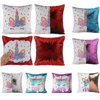 Wholesale case flip girl online – custom Unicorn Mermaid Pillow Case Reversible Sequin Flip PillowCover Throw Cushion Case Decorative For Home Sofa Car Xmas Girls Gifts HH9