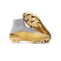 ingrosso stivali bambini d'oro-2019 Scarpe da calcio Red Gold CR7 Bambini Red Gold CR7 Tacchetti Mercurial Superfly V FG Kids Ronaldo Womens Football Boots