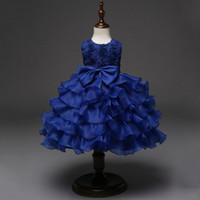 ingrosso palline bianche del vestito blu-Rosa Bianco Rosso Blu Toddler Infant Party Favors Ball Gown Dress Per 12 18 24 Mesi 3 4 5 6 Anni Baby Girl Compleanno Abiti J190426