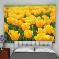 ingrosso decorazione tulipani gialli-Decorazione per la camera da letto psichedelica di arazzi a parete gialla con arazzi e tulipani