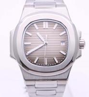 автоматические наручные часы оптовых-High End 5711 Серия Silver Мужские часы автоподзаводом 40MM Овальный коричневый циферблат Наручные часы Skeleton Прозрачный Назад Мужские часы