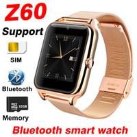 metal akıllı saatler toptan satış-Z60 Smartwatch bluetooth telefon İzle metal kabuk Destek TF SIM Kart Çağrı DZ09 Akıllı İzle pasometre kamera Z50 X6 Y1 A1 Q18 SamrtWatches
