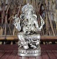 ingrosso piastre di porcellana di elefante-Cina vecchio Feng Shui ornamenti bianco Rame placcatura d'argento Quattro mano elefante dio