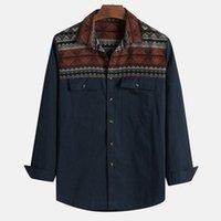 çift cep uzun gömlek toptan satış-Casual erkek gömlek camisa Serin Yakışıklı Etnik Tarzı Baskılı Uzun Kollu gömlek erkekler Turn-down Yaka Çift Cepler Erkek Bluz