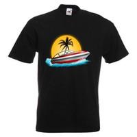 color de agua del barco al por mayor-Boat In The Sun CAMISETA ESTAMPADA Hombre Palm Tree Island Speed Boat Camiseta Ocean Ocean Water Imprimir camiseta