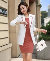 bayan ofis çalışma üniforması toptan satış-Bayanlar İş Takımları Kadınlar için Takım Elbise Beyaz Ceket ve Blazer Setleri İş Kıyafetleri Ofis Üniforma Stilleri